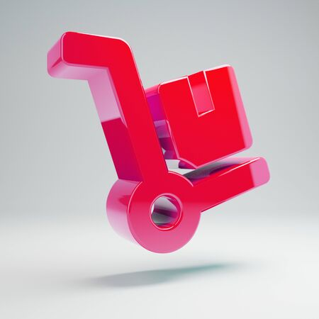 Volumetric glossy hot pink Dolly icon isolated on white background. 3D rendered digital symbol. Modern icon for website, internet marketing, presentation, logo design template element. Stock Photo
