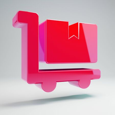Volumetric glossy hot pink Dolly Flatbed icon isolated on white background. 3D rendered digital symbol. Modern icon for website, internet marketing, presentation, logo design template element.