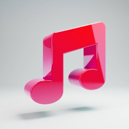 Volumetric glossy hot pink Music icon isolated on white background. 3D rendered digital symbol. Modern icon for website, internet marketing, presentation, logo design template element. Stock Photo