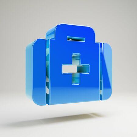 Volumetric glossy blue Med kit icon isolated on white background. 3D rendered digital symbol.