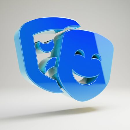 Volumetric glossy blue theater masks icon isolated on white background. 3D rendered digital symbol.