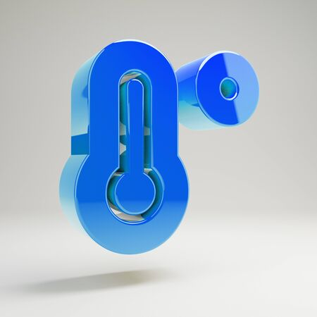 Volumetric glossy blue temperature high icon isolated on white background. 3D rendered digital symbol. Stockfoto