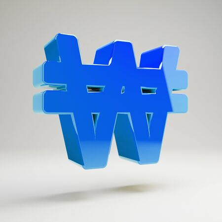 Volumetric glossy blue won icon isolated on white background. 3D rendered digital symbol.