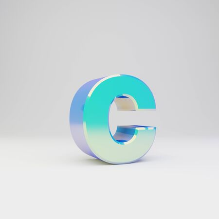 3d letter C lowercase. Sky blue metal font with glossy reflections isolated on white background.