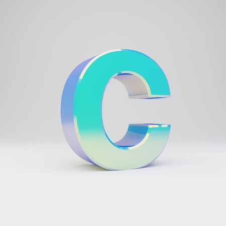 3d letter C uppercase. Sky blue metal font with glossy reflections isolated on white background. Stok Fotoğraf