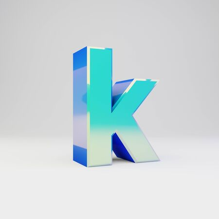 3d letter K lowercase. Sky blue metal font with glossy reflections isolated on white background.