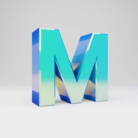 3d letter M uppercase. Sky blue metal font with glossy reflections isolated on white background.
