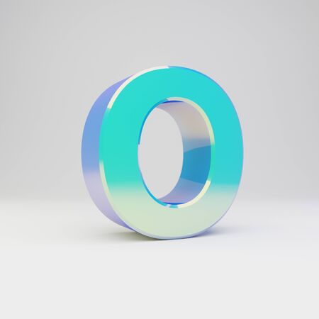 3d letter O uppercase. Sky blue metal font with glossy reflections isolated on white background.