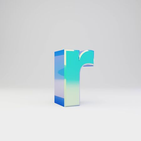 3d letter R lowercase. Sky blue metal font with glossy reflections isolated on white background.