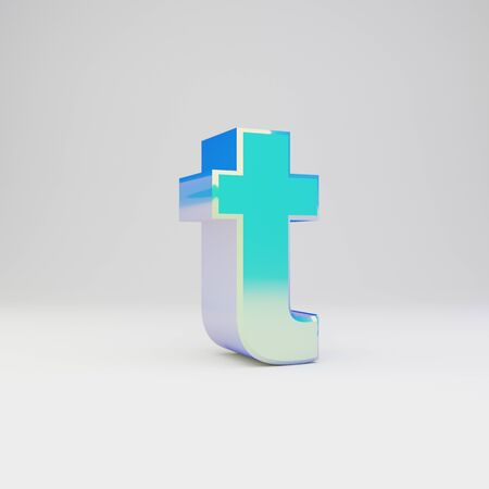 3d letter T lowercase. Sky blue metal font with glossy reflections isolated on white background.