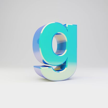 3d letter G lowercase. Sky blue metal font with glossy reflections isolated on white background. Stok Fotoğraf