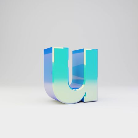 3d letter U lowercase. Sky blue metal font with glossy reflections isolated on white background.
