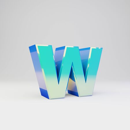 3d letter W lowercase. Sky blue metal font with glossy reflections isolated on white background.