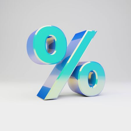 3d percent symbol. Sky blue metal font with glossy reflections isolated on white background.