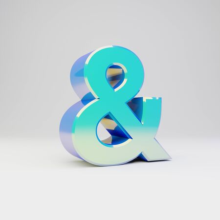 3d ampersand symbol. Sky blue metal font with glossy reflections isolated on white background.