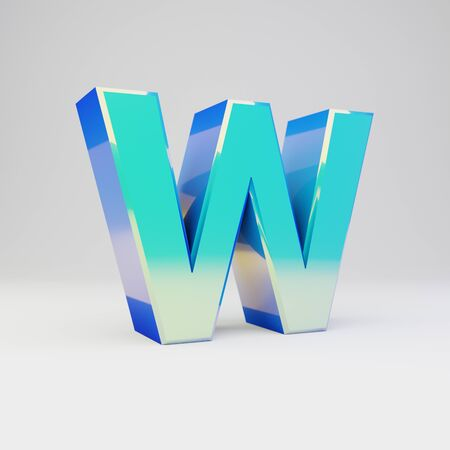 3d letter W uppercase. Sky blue metal font with glossy reflections isolated on white background. Stok Fotoğraf