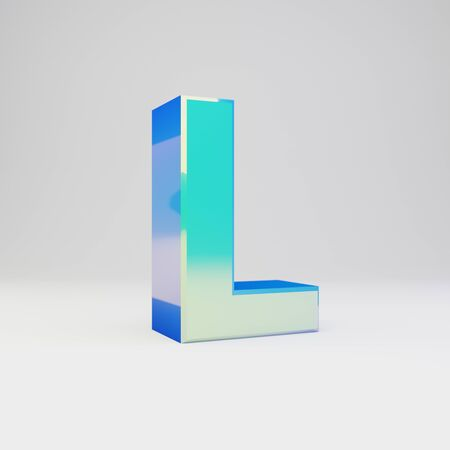 3d letter L uppercase. Sky blue metal font with glossy reflections isolated on white background.