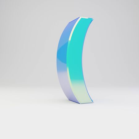 3d round bracket symbol. Sky blue metal font with glossy reflections isolated on white background.