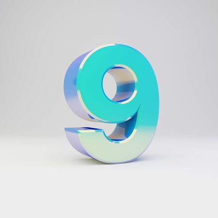 3d number 9. Sky blue metal font with glossy reflections isolated on white background.