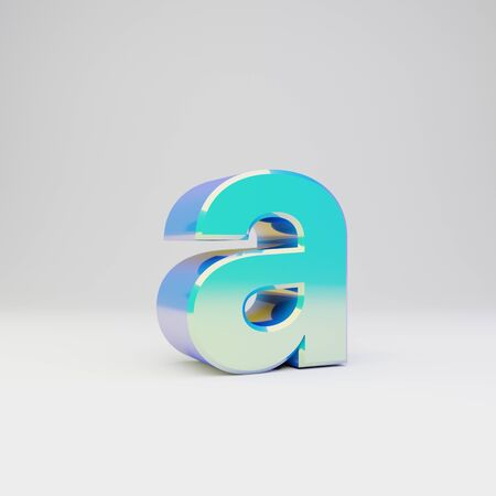 3d letter A lowercase. Sky blue metal font with glossy reflections isolated on white background.