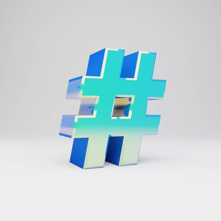 3d hashtag symbol. Sky blue metal font with glossy reflections isolated on white background.