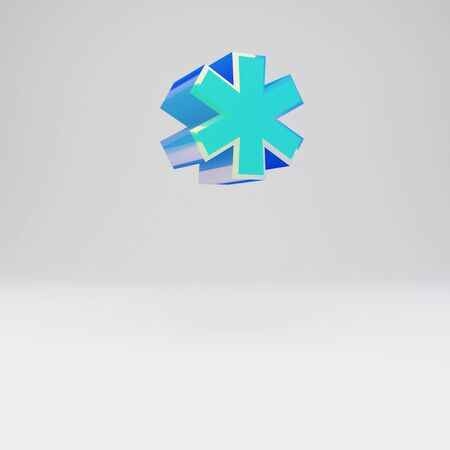 3d asterisk symbol. Sky blue metal font with glossy reflections isolated on white background.