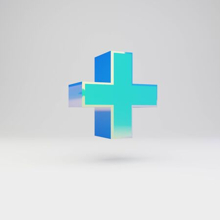 3d plus symbol. Sky blue metal font with glossy reflections isolated on white background.