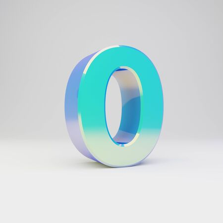 3d number 0. Sky blue metal font with glossy reflections isolated on white background.
