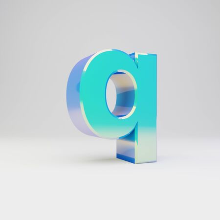 3d letter Q lowercase. Sky blue metal font with glossy reflections isolated on white background. Stok Fotoğraf