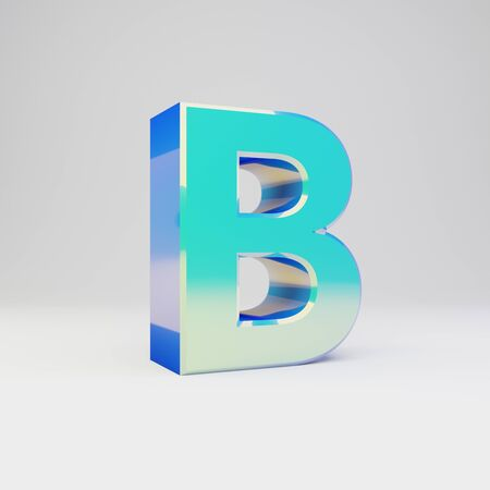 3d letter B uppercase. Sky blue metal font with glossy reflections isolated on white background.