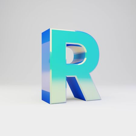 3d letter R uppercase. Sky blue metal font with glossy reflections isolated on white background.