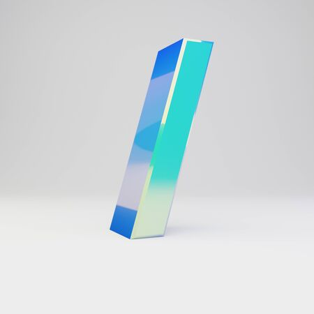 3d forward slash symbol. Sky blue metal font with glossy reflections isolated on white background.