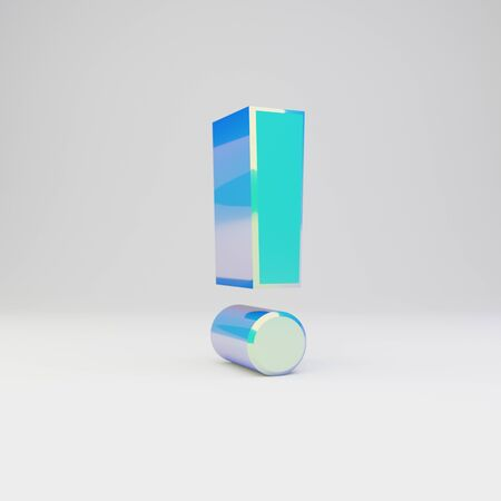 3d exclamation point symbol. Sky blue metal font with glossy reflections isolated on white background.