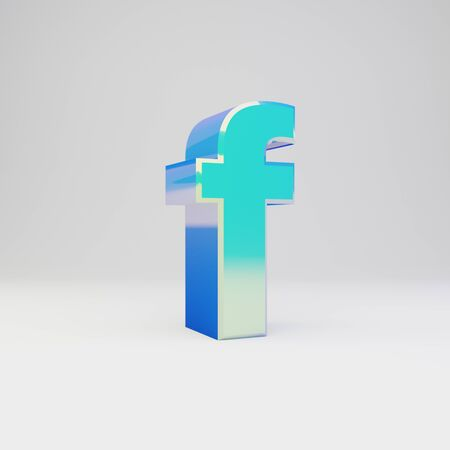 3d letter F lowercase. Sky blue metal font with glossy reflections isolated on white background.