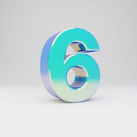 3d number 6. Sky blue metal font with glossy reflections isolated on white background.