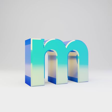 3d letter M lowercase. Sky blue metal font with glossy reflections isolated on white background. Stok Fotoğraf