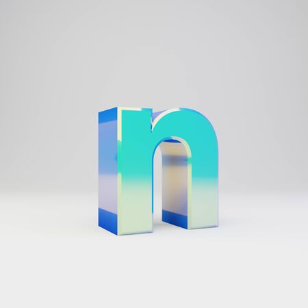 3d letter N lowercase. Sky blue metal font with glossy reflections isolated on white background. Stok Fotoğraf