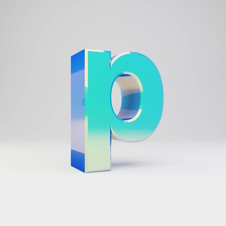 3d letter P lowercase. Sky blue metal font with glossy reflections isolated on white background.