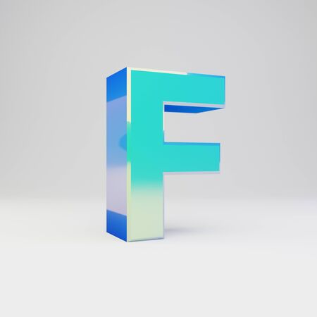 3d letter F uppercase. Sky blue metal font with glossy reflections isolated on white background.