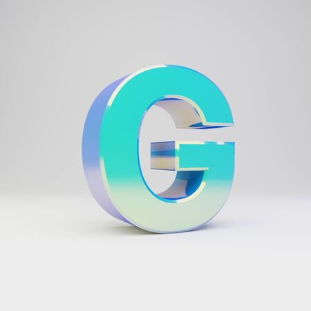 3d letter G uppercase. Sky blue metal font with glossy reflections isolated on white background.