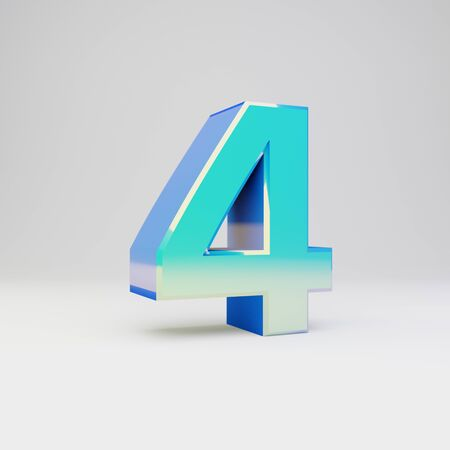 3d number 4. Sky blue metal font with glossy reflections isolated on white background.