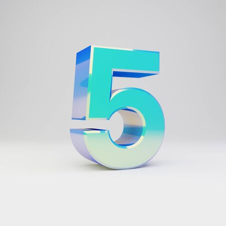 3d number 5. Sky blue metal font with glossy reflections isolated on white background.