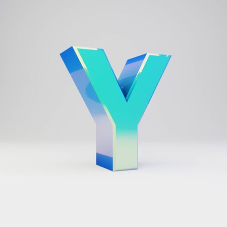 3d letter Y uppercase. Sky blue metal font with glossy reflections isolated on white background.