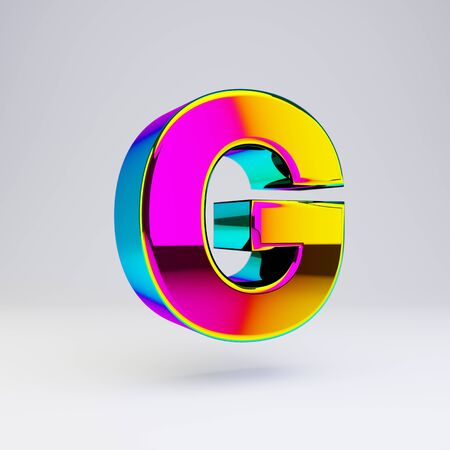Holographic letter G uppercase isolated on white. 3D rendered multichrome glossy alphabet type for poster, banner, advertisement, decoration.