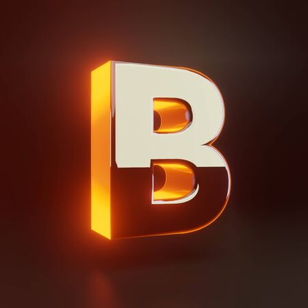 3d letter B uppercase. Glowing glossy metallic font with orange lights isolated on black background. 3D rendered shiny alphabet type for poster, banner, advertisement, decoration. Foto de archivo