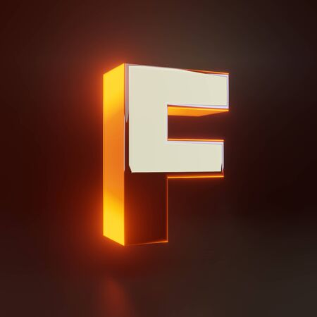 3d letter F uppercase. Glowing glossy metallic font with orange lights isolated on black background. 3D rendered shiny alphabet type for poster, banner, advertisement, decoration. Foto de archivo