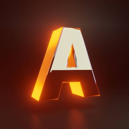 3d letter A uppercase. Glowing glossy metallic font with orange lights isolated on black background. 3D rendered shiny alphabet type for poster, banner, advertisement, decoration.