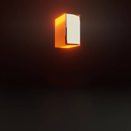 3d quotes symbol. Glowing glossy metallic font with orange lights isolated on black background. 3D rendered shiny alphabet type for poster, banner, advertisement, decoration.