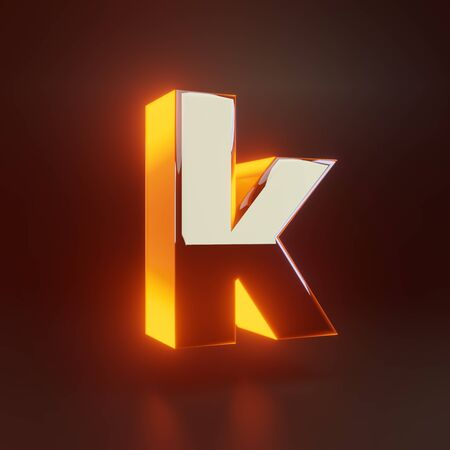 3d letter K lowercase. Glowing glossy metallic font with orange lights isolated on black background. 3D rendered shiny alphabet type for poster, banner, advertisement, decoration.