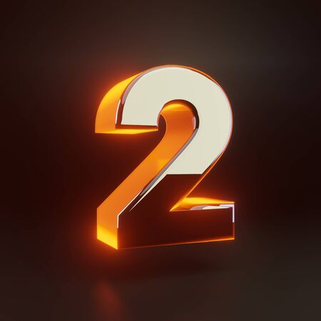 3d number 2. Glowing glossy metallic font with orange lights isolated on black background. 3D rendered shiny alphabet type for poster, banner, advertisement, decoration.